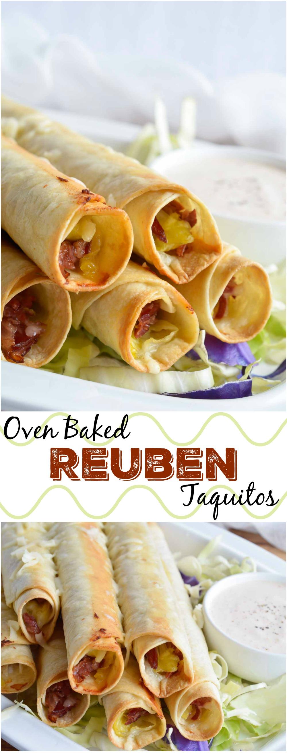 Reuben Stuffed Baked Taquitos Wonkywonderful