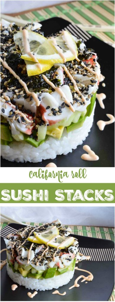 Homemade Sushi Stacks have all of the great flavors of a California Roll! This recipe is perfect for parties, special occasions or a fun dinner night. No special equipment needed!