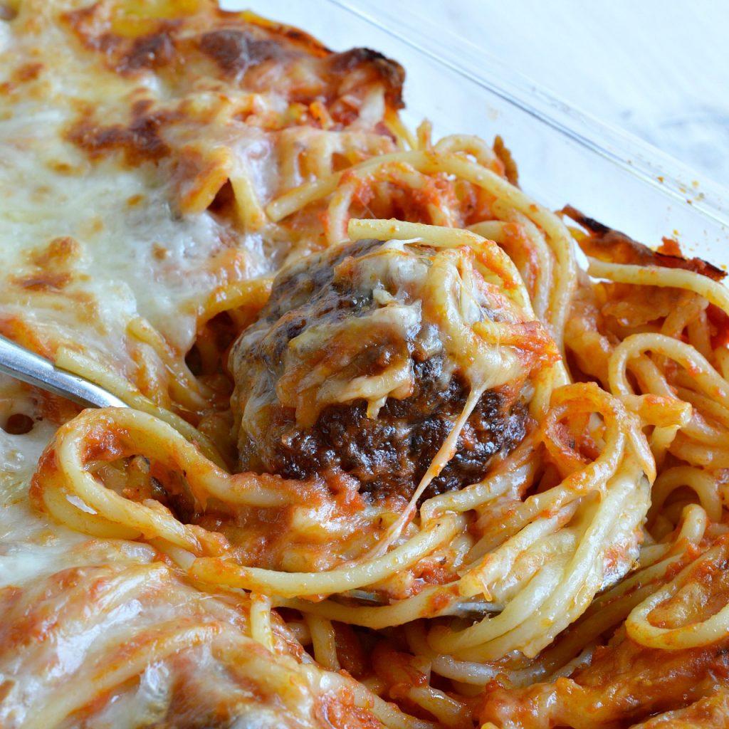 Baked Spaghetti and Meatballs - WonkyWonderful