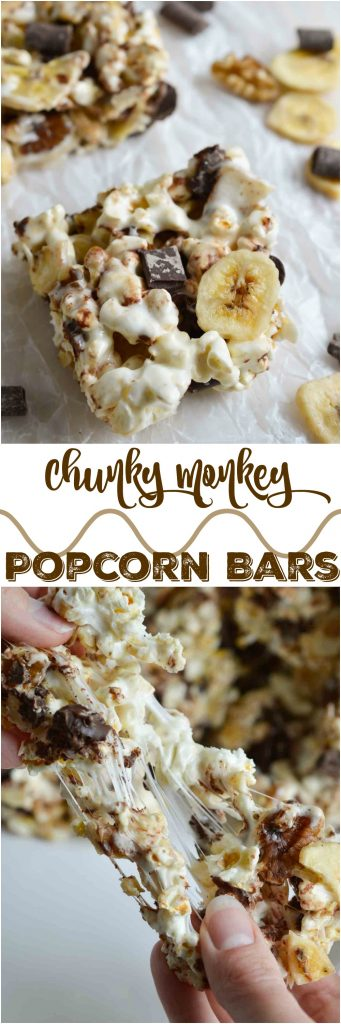 Movie night just got even better with these Chunky Monkey Popcorn Bars! Popcorn marshmallow bars filled with chocolate chunks, banana chips and walnuts. This dessert snack recipe will be a fun family treat!