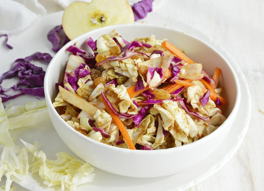 Sweet and Savory Cabbage Apple Slaw