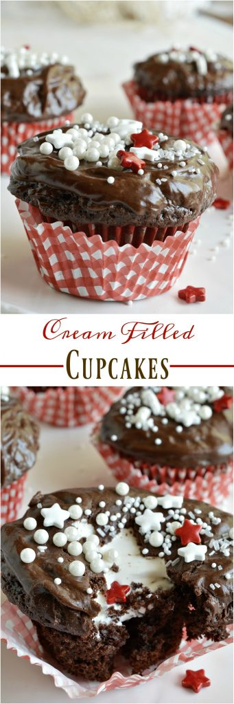These Cream Filled Cupcakes are super easy to make and are sure to be a hit! Cake mix chocolate cupcakes are filled with luscious vanilla cream then topped with chocolate glaze frosting and sprinkles. This semi-homemade dessert recipe is just one of many treats from The Domestic Rebel's new cookbook, Out of the Box Treats.