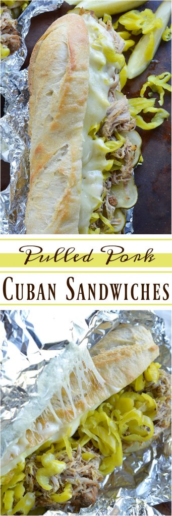 If you are tired of the same old barbecue pork sandwiches give these Slow Cooker Pulled Pork Cuban Sandwiches a try! This easy dinner recipe is inspired by Cuban Sandwiches. Start with Coca-Cola slow cooker pulled pork then add cheese, pepperoncinis, pickles, mustard and bread. These oven baked sandwiches are perfect for feeding a crowd!