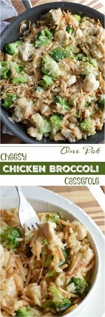 Make a weeknight dinner recipe that is quick, easy and sure to please the entire family! This One Pot Cheesy Chicken Broccoli Rice Casserole has everything you need in a meal in 30 minutes or less!