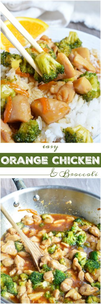 If you're craving Chinese take out this Orange Soy Chicken Broccoli is the dinner recipe you need! With six ingredients and about 20 minutes you can have a delicious Asian inspired meal.
