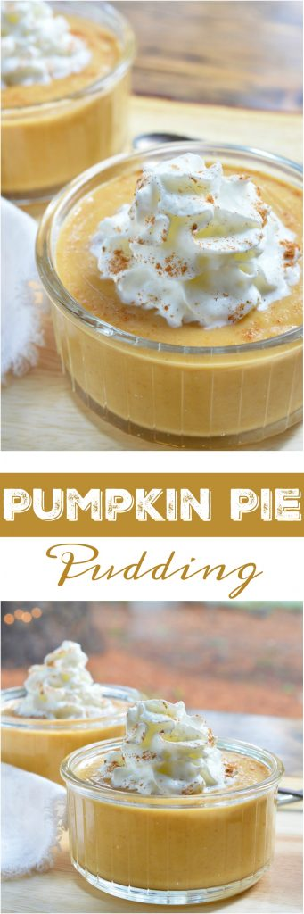 This quick and easy holiday dessert is great for your Thanksgiving feast. My Pumpkin Pie Pudding Recipe is simple to serve and has all of the great flavor of pumpkin pie. The kids will love this treat!