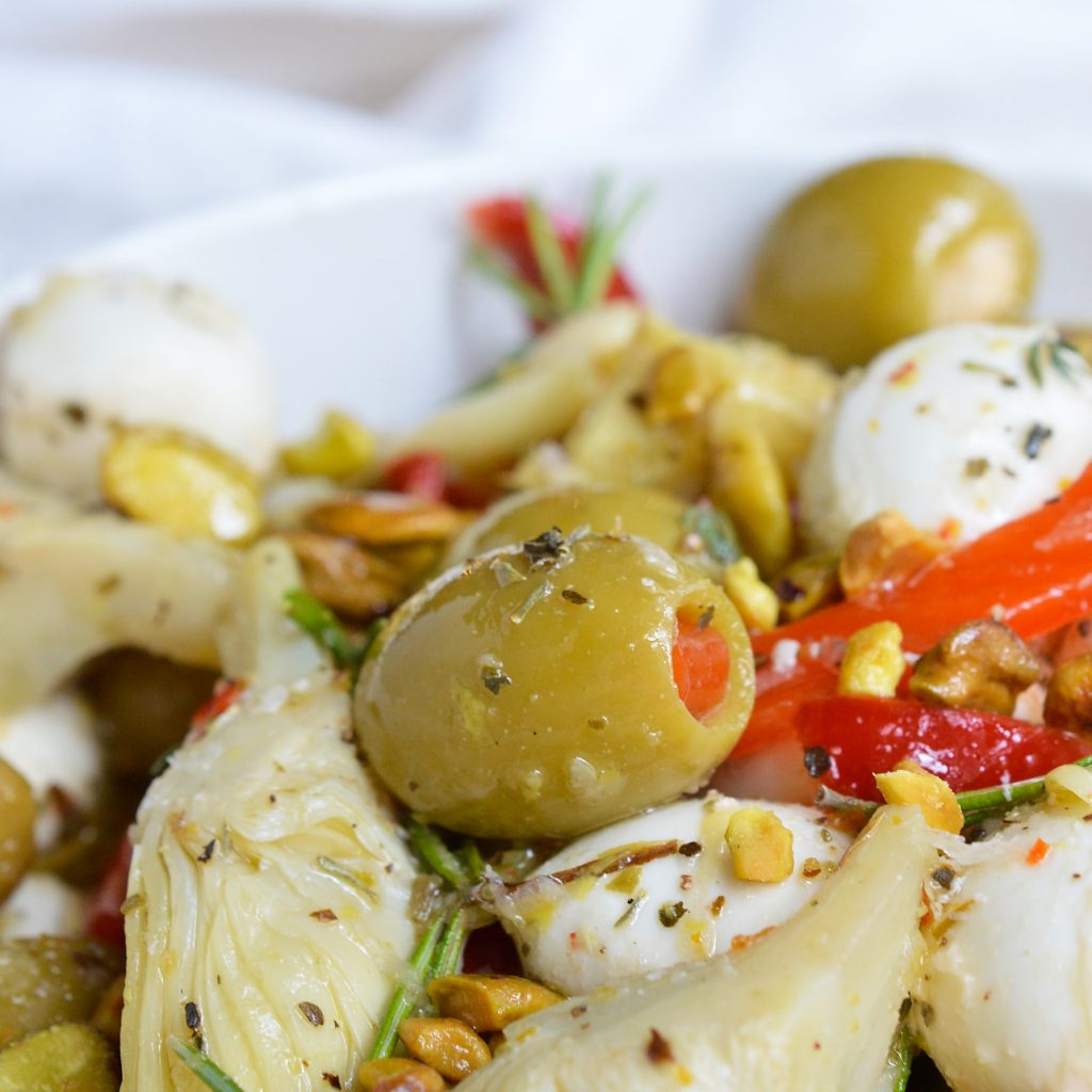 Marinated Mozzarella Balls, Artichokes and Olives