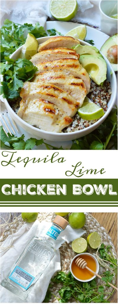 collage photo of tequila lime chicken quinoa bowl