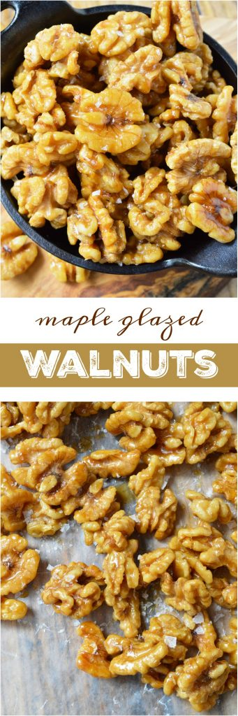 This Easy Maple Glazed Walnuts Recipe requires just 2 ingredients and couldn't get much more simple! These walnuts are lightly sweetened the natural way with pure maple syrup. Just bake, cool and enjoy alone, on salads or in a healthy Paleo snack mix! #paleorecipes #paleo
