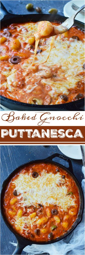 Do you want an easy dinner with unique flavor? This Puttanesca Baked Gnocchi Recipe is a fun twist on a traditional pasta meal! Gnocchi are slathered in this briny red sauce filled with olives then topped with mozzarella and baked to perfection.