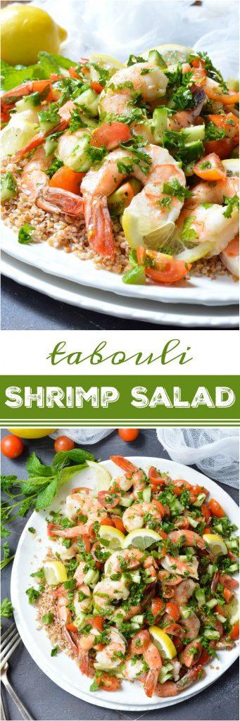 Looking for a healthy, nutritious meal with tons of flavor? This Tabouli Shrimp Salad Recipe has it all! Made with the traditional tabbouleh ingredients of mint, parsley, lemon, tomatoes, cucumber and lemon. The addition of shrimp makes this a satisfying meal that is great for lunch or dinner. (includes Whole30 option)