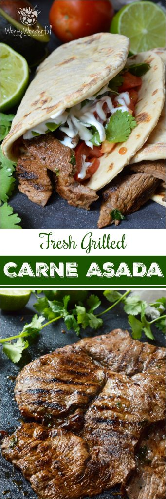 Nothing beats a greatCarne Asada Recipe for the summertime grill season! This Carne Asada is made with thinly sliced round tip steak marinated in orange, lime, cilantro and garlic. Perfect for wraps, tacos, burrito bowls or any Mexican food dish you can think of!