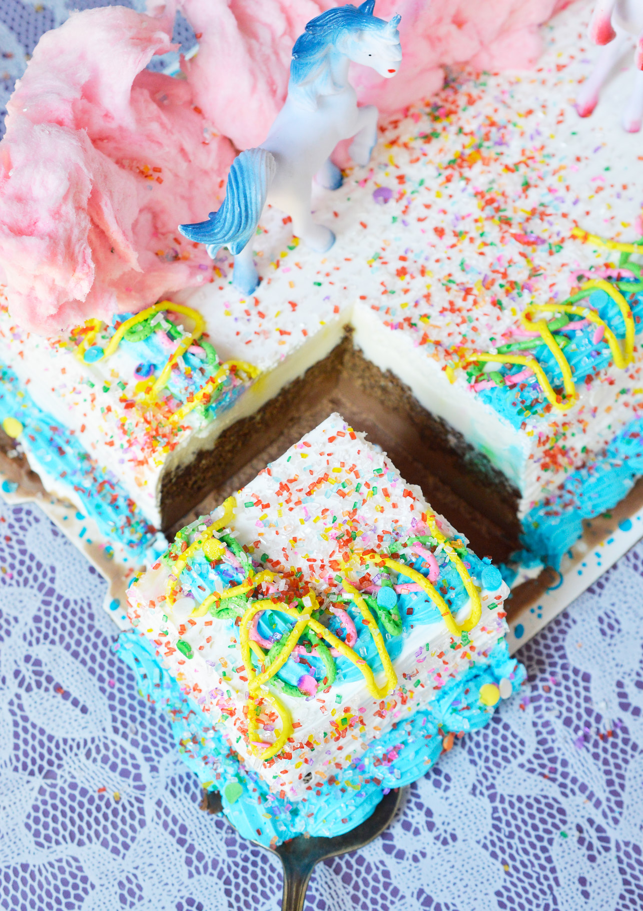 Get the party started with this Cotton Candy Unicorn Party Punch and Unicorn Ice Cream Cake! The punch recipe is made simply with 2 ingredients and the ice cream cake takes just minutes to decorate. The kids will love this fun and colorful drink!