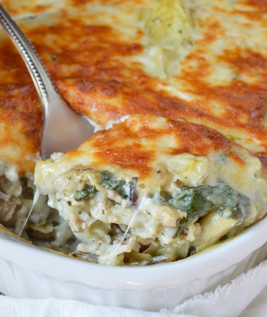 Turkey Spinach Artichoke Wild Rice Casserole