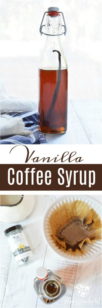 Homemade Vanilla Coffee Syrup is easy to make and will take your morning coffee to the next level! This starts with a simple syrup recipe that is infused with a blast of vanilla bean flavor! Make coffee-house style coffee at home or use this vanilla syrup in tea, desserts or as a topping. This also makes a great homemade gift.
