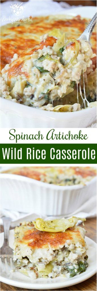 Turkey Spinach Artichoke Wild Rice Casserole is perfect for those busy weeknights. This family dinner recipe is nutritious and full of flavor!