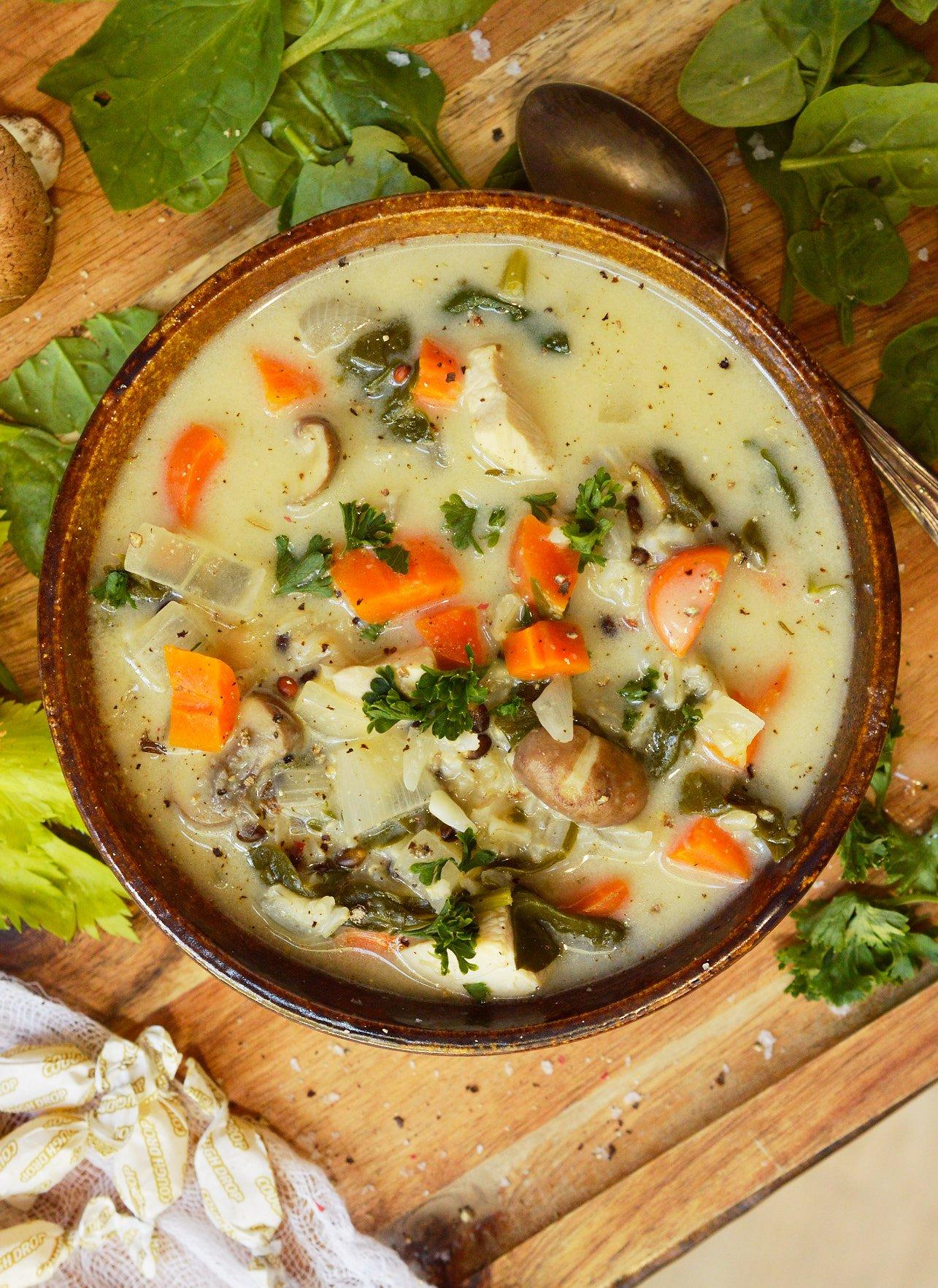 Creamy Chicken Rice Soup Recipe - WonkyWonderful