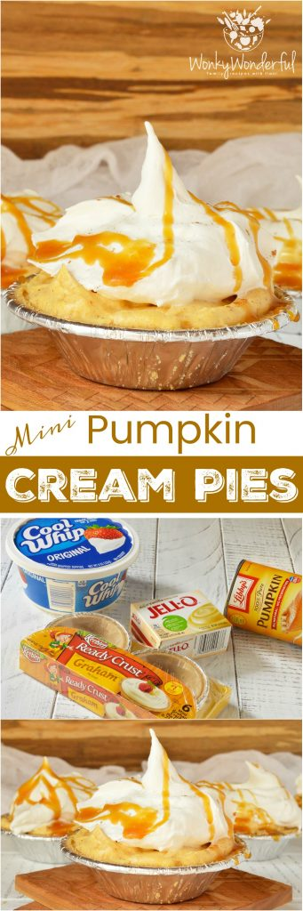 Don't slave away in the kitchen making holiday desserts! These No Bake Mini Pumpkin Cream Pies drizzled with caramel are quick, easy and sure to be a hit! This pudding pie recipe is also great for portion control thanks to the individual servings. #pie #dessert #thanksgiving