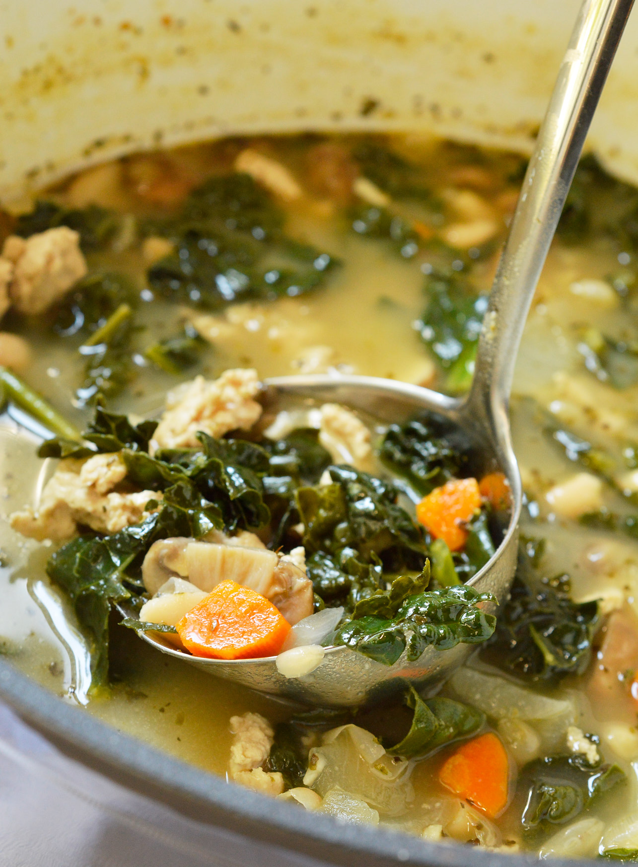 Meal planning just got easier with this Vegetable Turkey Soup dinner recipe. Lean turkey, fresh kale, carrots, mushrooms and white beans make this hearty meal nutritious and tasty!