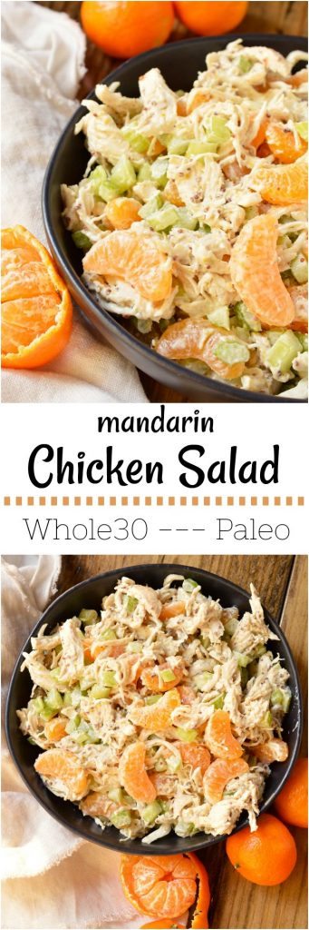 Take a break from boring old chicken salad and make thisMandarin Orange Chicken Salad Recipe. The tangy dijon mustard and sweet mandarin oranges take this chicken salad to the next level! With just 5 ingredients this makes a great nutritious lunch or dinner and can be made into a Whole30 compliant recipe. #whole30recipes #paleorecipes #chickensaladrecipe #orangechicken