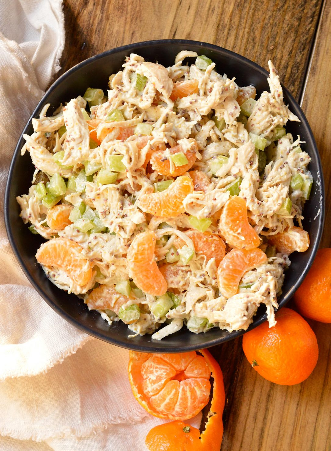 Take a break from boring old chicken salad and make thisMandarin Orange Chicken Salad Recipe. The tangy dijon mustard and sweet mandarin oranges take this chicken salad to the next level! With just 5 ingredients this makes a great nutritious lunch or dinner and can be made into a Whole30 compliant recipe. #whole30recipes #paleorecipes #chickensaladrecipe #mandarinchicken