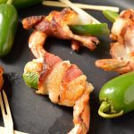 These Bacon Wrapped Shrimp are a quick and simple appetizer, perfect for holidays, game day or parties. Just wrap shrimp and jalapeño with bacon and fry it up. These can also be made Whole30 - Paleo compliant. #whole30recipes #paleorecipes #whole30 #paleo