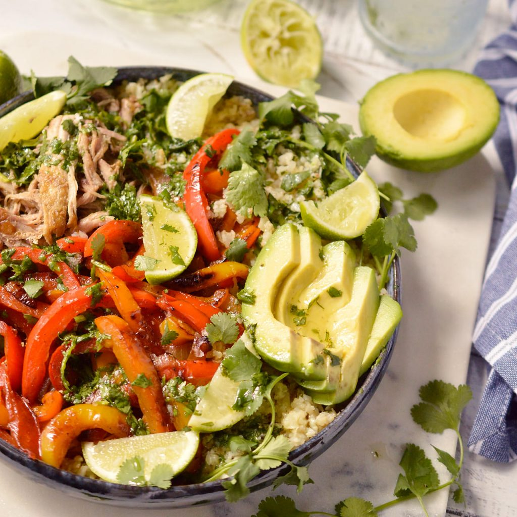 Pork Fajita Bowls (Whole30, Paleo, Gluten Free, Grain Free)