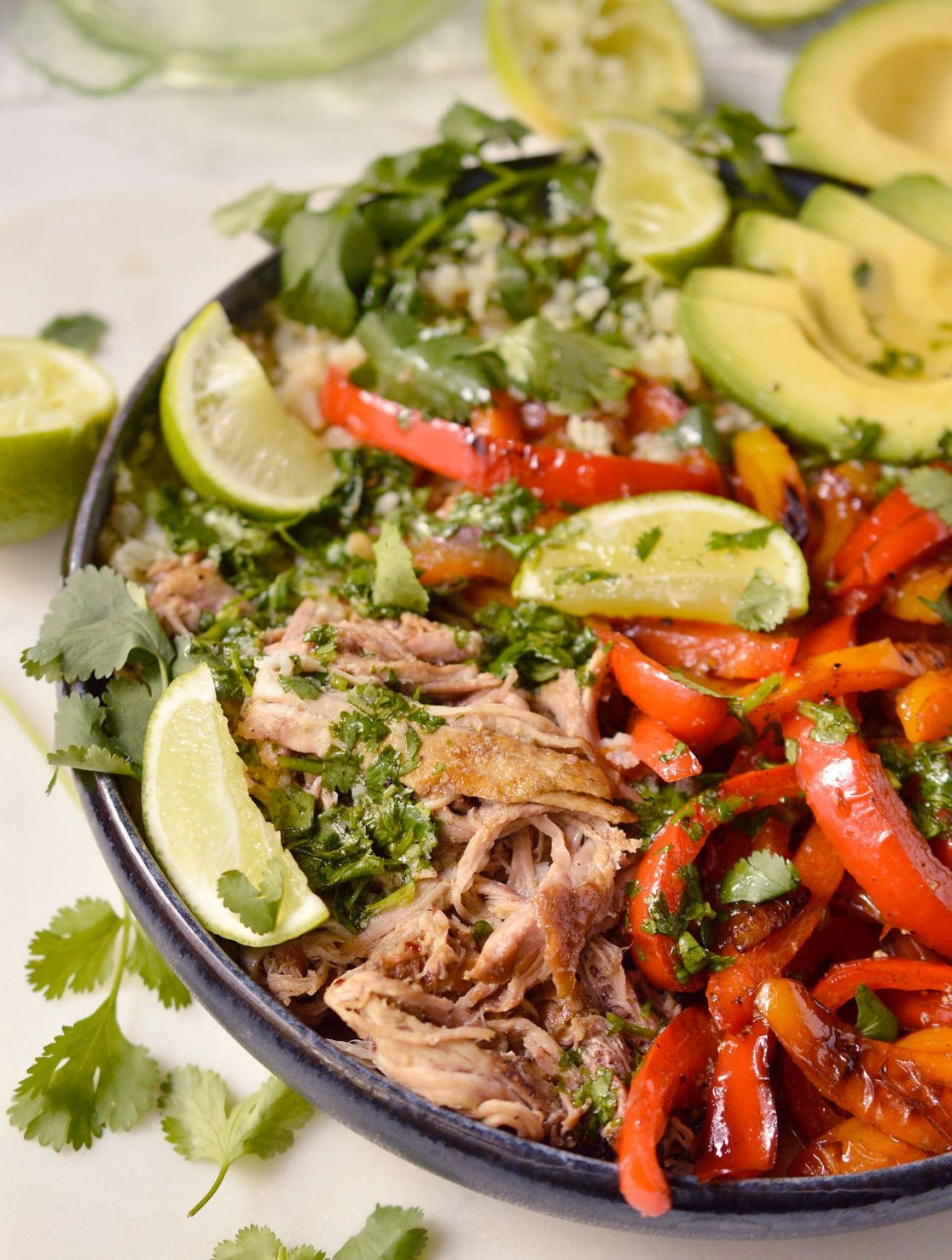 pork fajita bowl will sautéed peppers