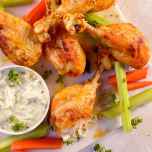 Buffalo Chicken Air Fryer Chicken Legs (Whole30, Paleo) – Video