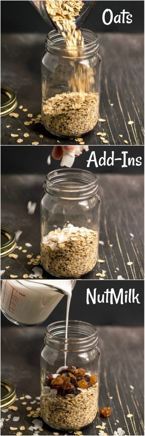 3 step by step photos showing how to make overnight oats. add oats, then add-ins then nut milk