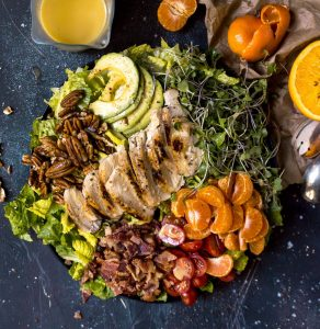Chicken Bacon Salad with Orange Maple Salad Dressing (Paleo, Dairy free, Gluten Free, Grain Free)