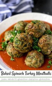closeup image of garlic spinach baked turkey meatballs labeled for Pinterest