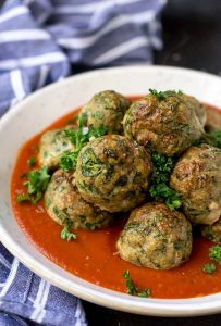 Spinach Garlic Baked Turkey Meatballs