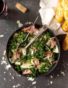 Lemon Garlic Kale Salad with Prosciutto and Parmesan