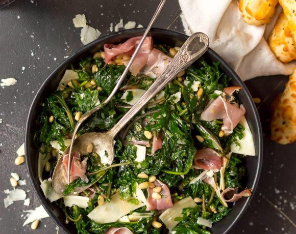 Lemon Garlic Kale Salad with Prosciutto and Parmesan