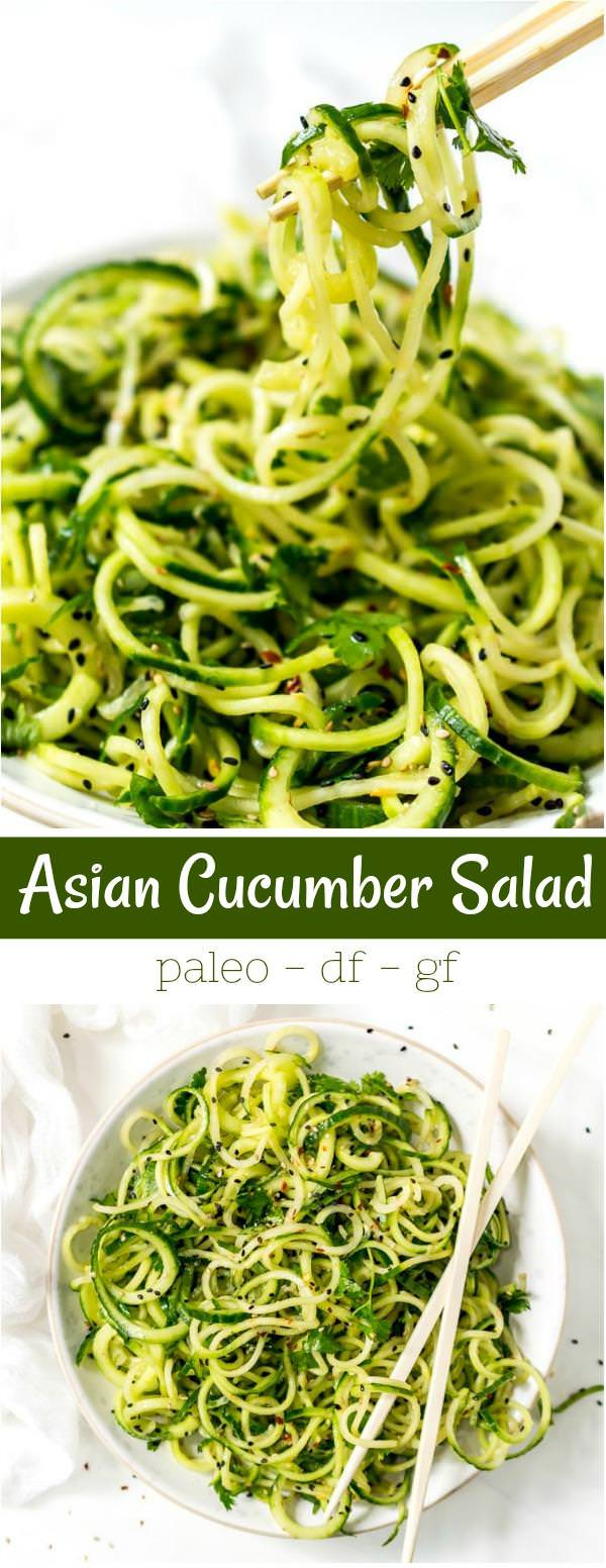 collage photos of asian cucumber salad recipe