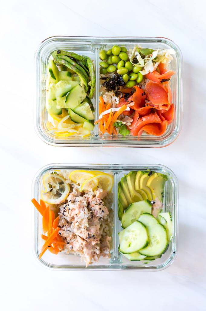 spicy crab sushi bowl and salmon sushi bowl in glass meal prep containers