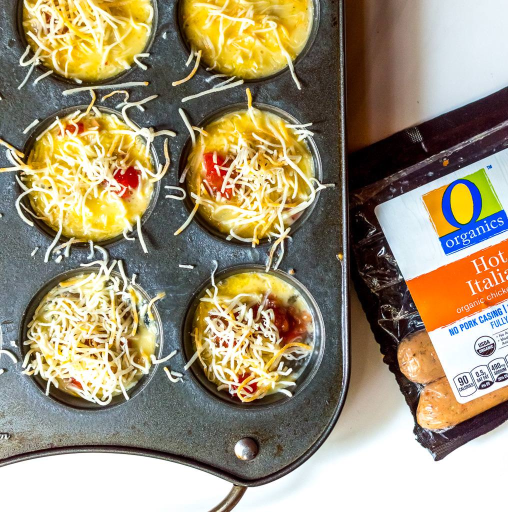 egg frittata muffins in muffin tin with sausage package on the side for healthy breakfast ideas