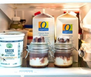 refrigerated jarred yogurt parfaits as breakfast on the go