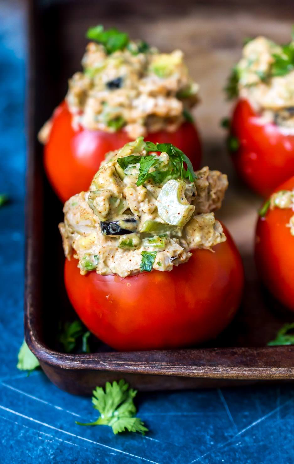 taco tuna stuffed tomatoes topped with fresh cilantro