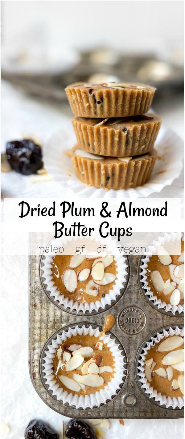 prune and almond butter cups recipe collage