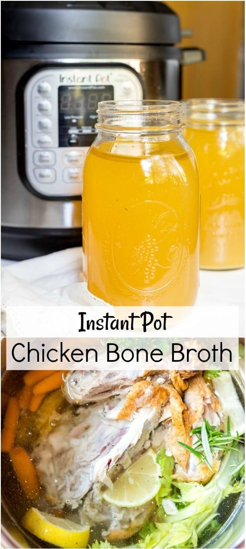 chicken bone broth pressure cooker recipe photo collage