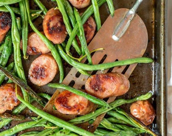 Sheet Pan Green Beans and Sausage Dinner