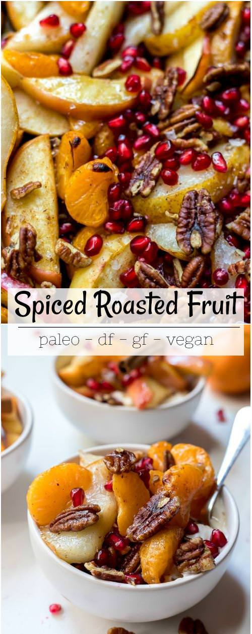 photo collage of baked apples, pears and mandarins with pecans and pomegranate
