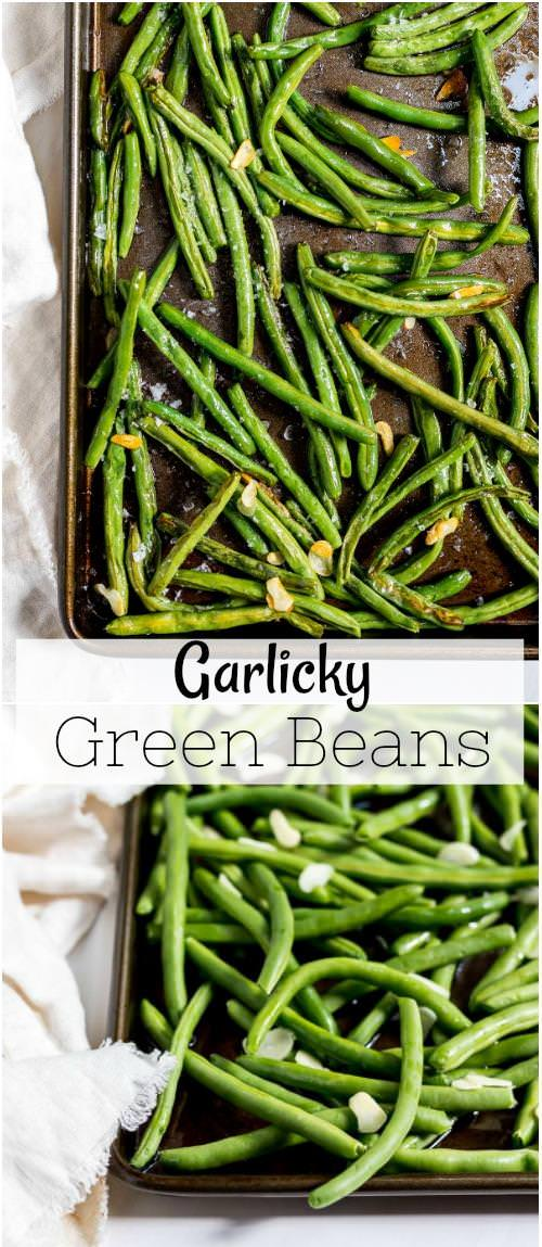 roasted fresh green beans with sliced garlic