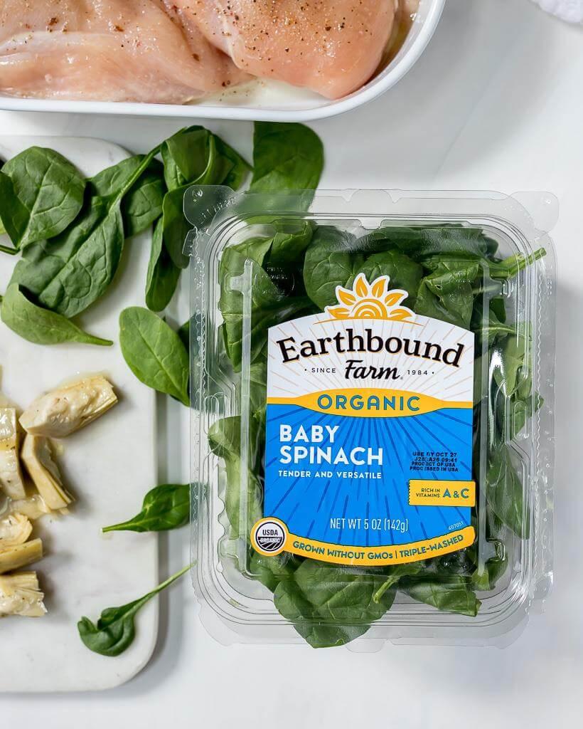 fresh baby spinach, artichoke hearts and raw chicken