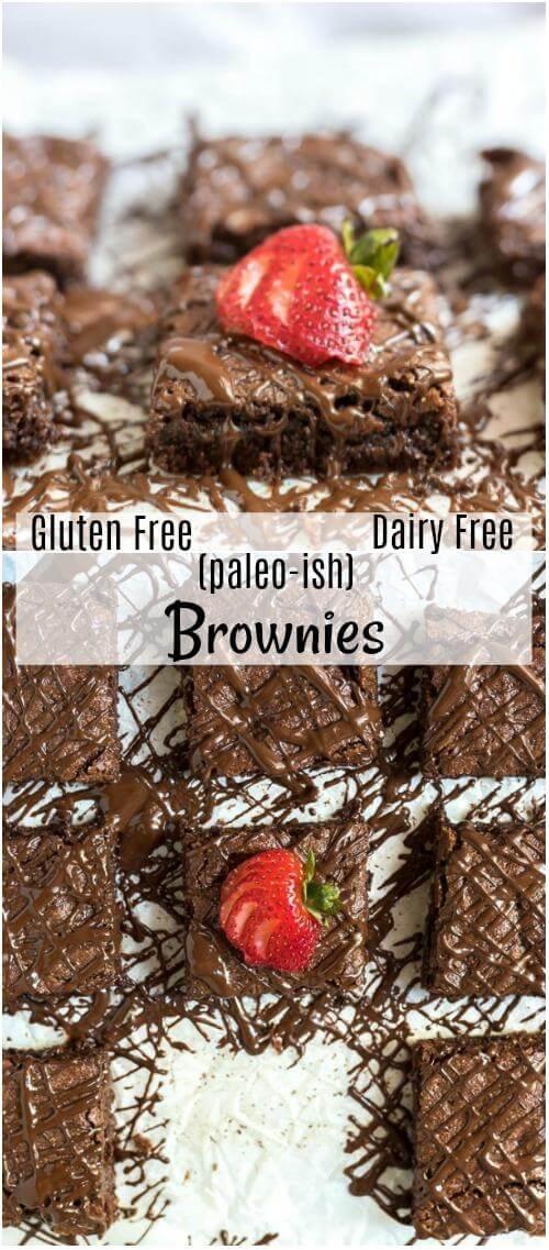 gluten free brownies recipe collage photo