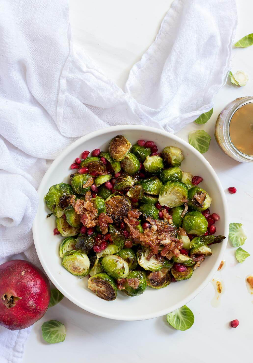 roasted brussel sprout salad in white bowl