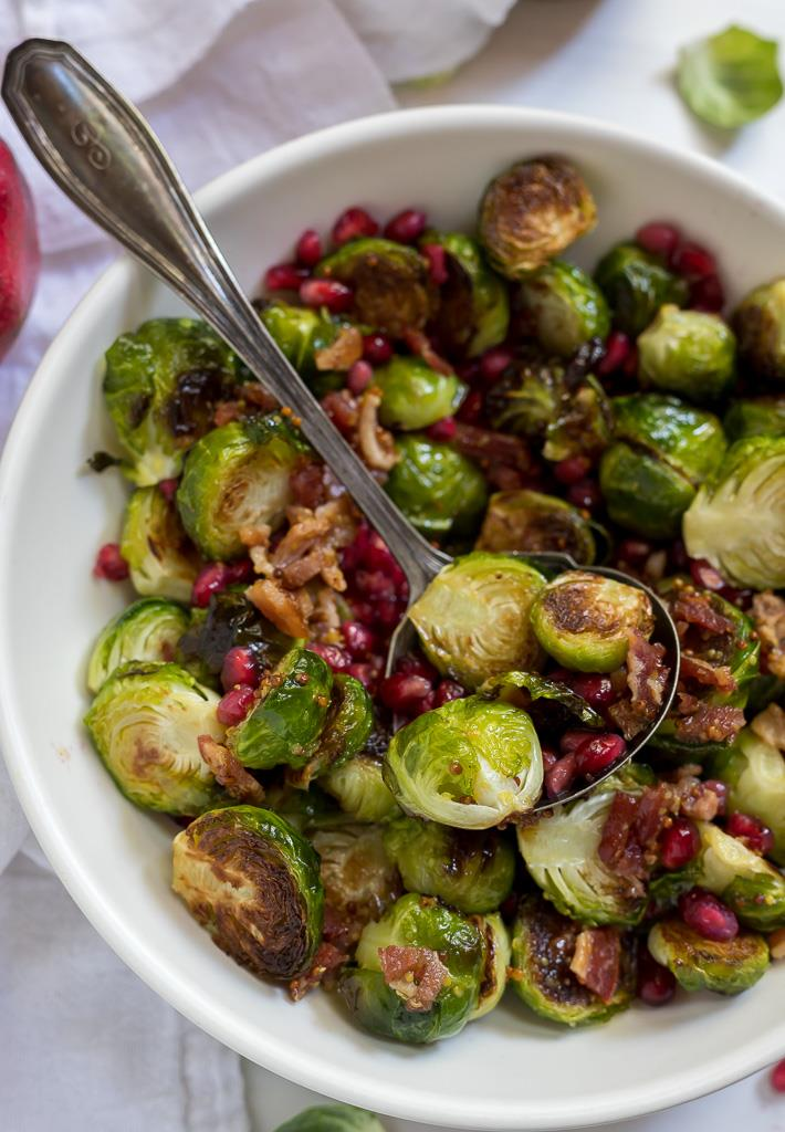 brussel sprout salad tossed with Warm Bacon Dressing