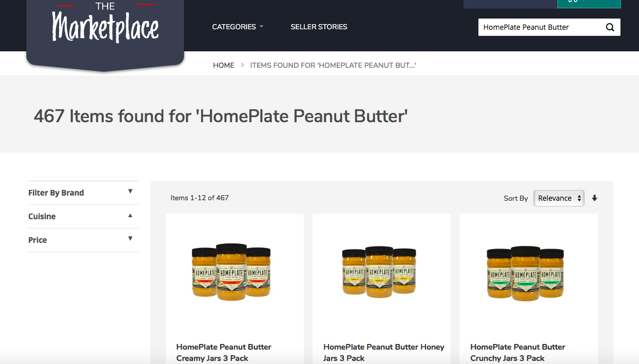 screenshot of peanut butter options on The Marketplace website